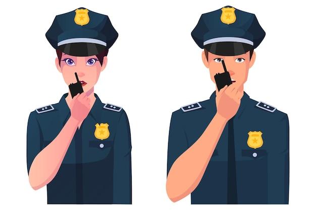 Poliziotto e poliziotta che parlano sull'illustrazione radiofonica