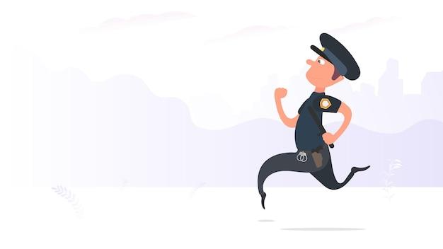 Un poliziotto corre per il parco