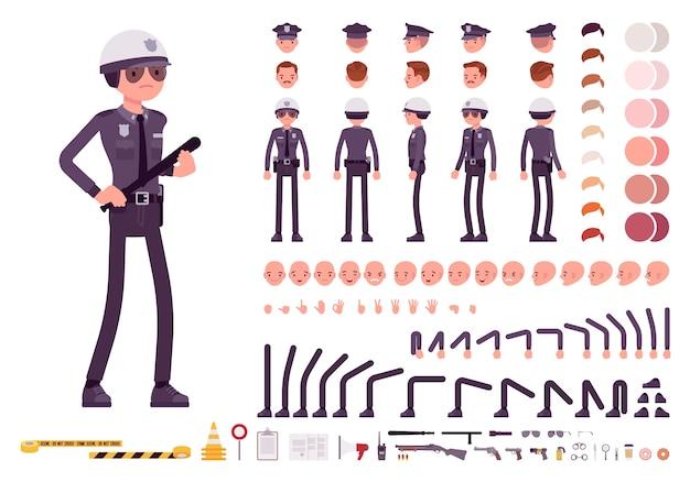 Poliziotto in set per la creazione del personaggio uniforme