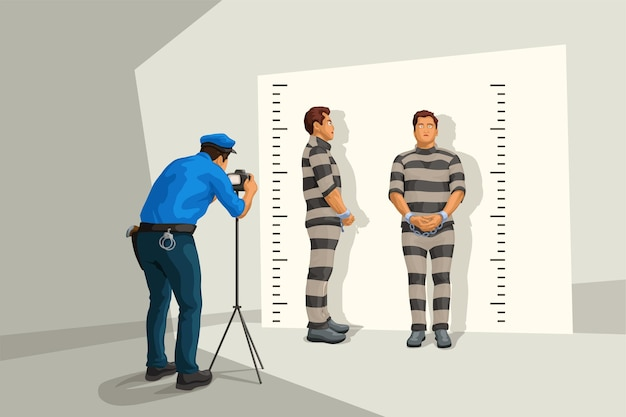 Poliziotto in uniforme prendendo una foto segnaletica al muro
