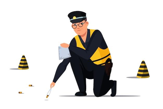 Un poliziotto che indossa occhiali da vista uniformi che tiene le pinzette raccoglie i proiettili in tasca