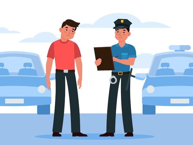 Il poliziotto scrive bene. ufficiale di polizia in uniforme scrittura sanzione per intruso conducente automobilistico, violazione sulla strada della città o parcheggio, ispettore auto controllo sicurezza traffico vettore piatto fumetto concetto