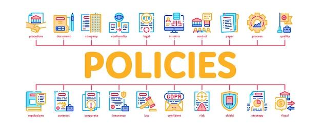 Politiche processo dati infographic minimo banner web vettore. documento e carta, contratto e strategia, legge e società, assicurazione e polizze di qualità illustrazione a colori