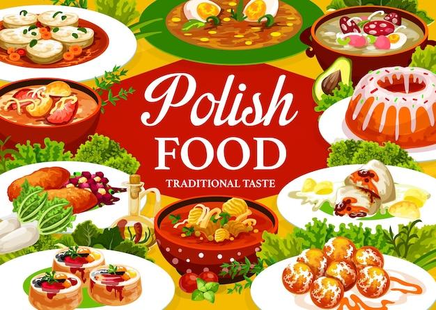 Poster di cucina polacca, copertina del menu del ristorante