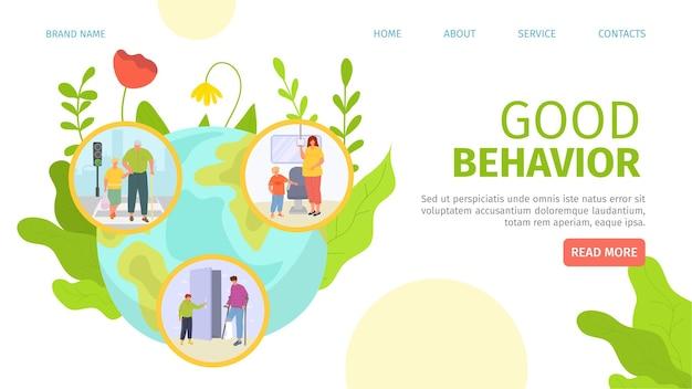 Carattere bambino educato con pagina di destinazione di buon comportamento