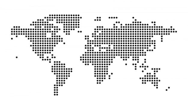 Illustrazione isolata mappa di mondo punteggiata politica