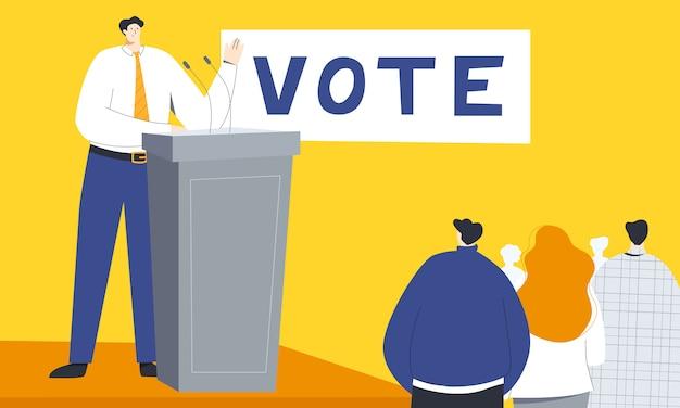 Illustrazione vettoriale colorato incontro politico con politico maschio in piedi dietro la tribuna,