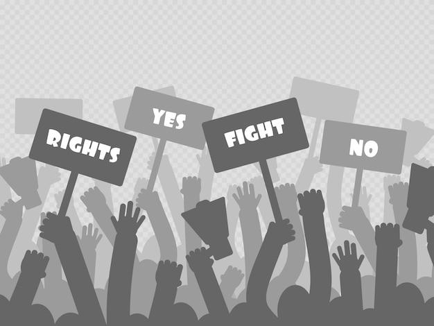 Protesta politica con mani di manifestanti sagoma tenendo il megafono