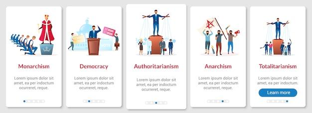 Metafore di sistemi politici a bordo del modello di schermata della pagina dell'app mobile. forme di regimi. procedura dettagliata del sito web con caratteri piatti. concetto di interfaccia del fumetto di ux, ui, gui smartphone