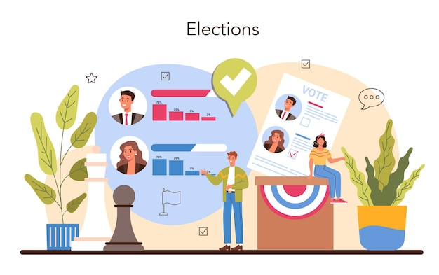 Idea di concetto politico di elezione e governo democratico partito politico