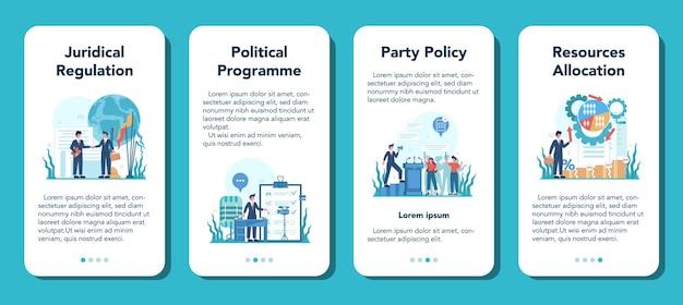 Set di banner di applicazioni mobili politico