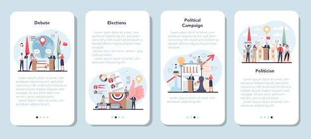 Insieme di modelli di applicazione mobile politico.