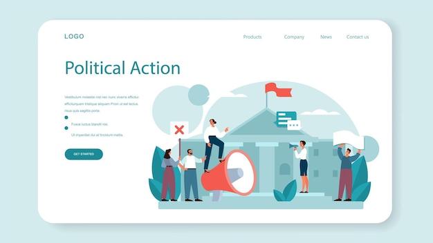 Banner web politico o pagina di destinazione. illustrazione piatta isolata
