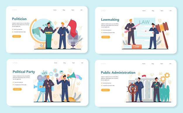 Banner web politico o set di pagine di destinazione