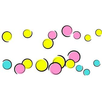 Sfondo a pois con coriandoli di fumetti pop art. grandi macchie colorate, spirali e cerchi su bianco. illustrazione vettoriale. schizzi di plastica per bambini per la festa di compleanno. sfondo a pois arcobaleno.