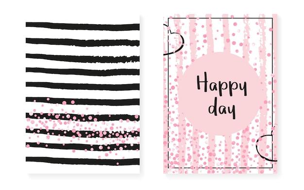 Trama a pois. arte romantica rosa. carta semplice a righe. dipinto con marchio di rosa. tessuto magico bianco. insieme dell'opuscolo disegnato a mano. illustrazione incandescente. texture a pois a righe