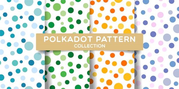 Raccolta di set di seamless pattern a pois.