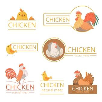 Logo pollo. illustrazioni di pollo per identità aziendale fattoria carne di cibo di uccelli modello pubblicitario