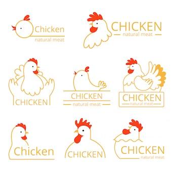 Logo pollo. modello di immagini di identità con fattoria uccelli polli e galli logotipo di cibo vettoriale