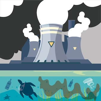 Fabbrica inquinante con camino a vapore e illustrazione di scarico del tubo dell'acqua