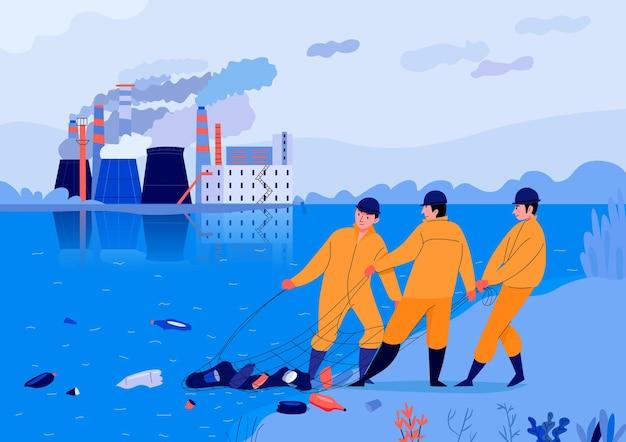 Illustrazione di inquinamento con tre uomini che prendono spazzatura dallo stagno vicino alla fabbrica