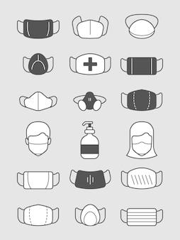 Simboli della maschera di inquinamento. icona di protezione medica trattamento uomo con visiera o set di vettori virus maschera. illustrazione dell'attrezzatura di protezione della maschera medica