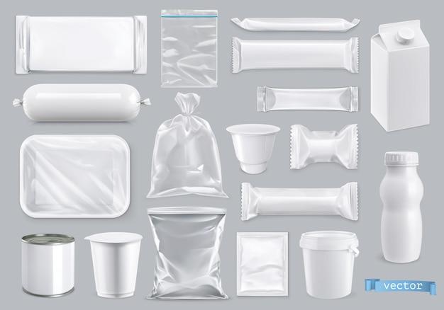 Imballaggi in polietilene e polistirolo per alimenti 3d set