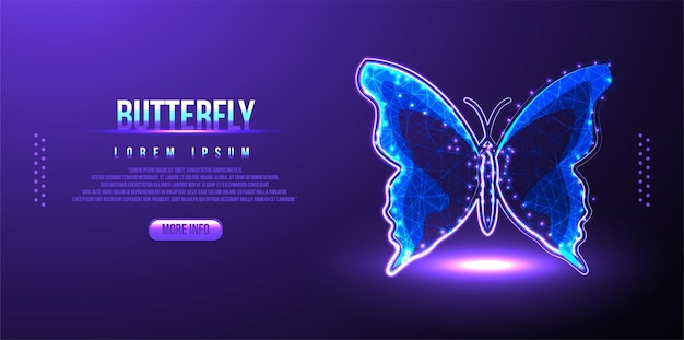Farfalla poligonale su rete tecnologica a catena di blocchi hud sfondo low poly wireframe