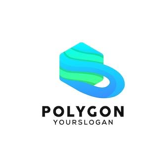 Modello di progettazione del logo colorato poligono