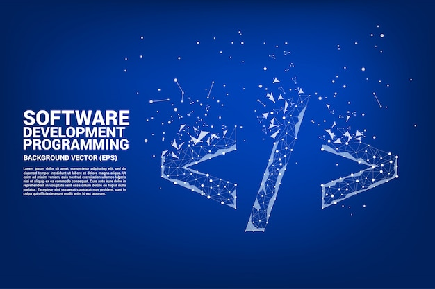 Icona di tag di programmazione di sviluppo software polygon con dot collegare la linea.