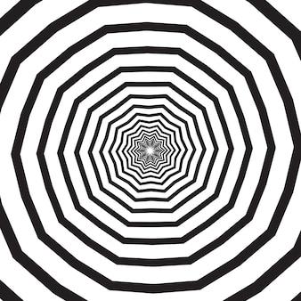 Turbinio poligonale in bianco e nero, elica o vortice. effetto rotatorio psichedelico o spirale ipnotica. illustrazione geometrica monocromatica di vettore
