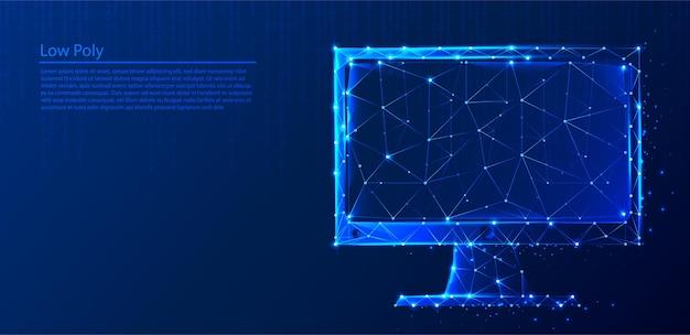 Computer poligonale su sfondo blu scuro tech, triangoli e design in stile particellare.