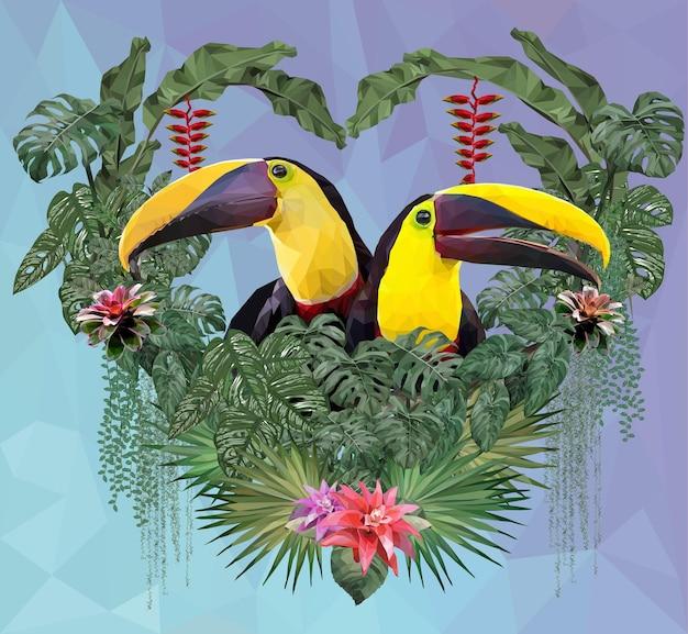 Illustrazione poligonale uccello tucano e piante della foresta amazzonica nel concetto di amore.