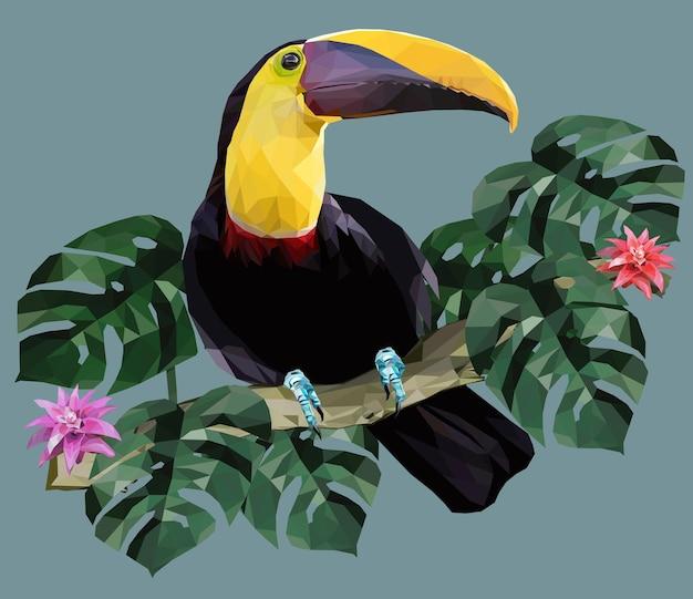 Illustrazione poligonale uccello tucano e piante della foresta amazzonica.