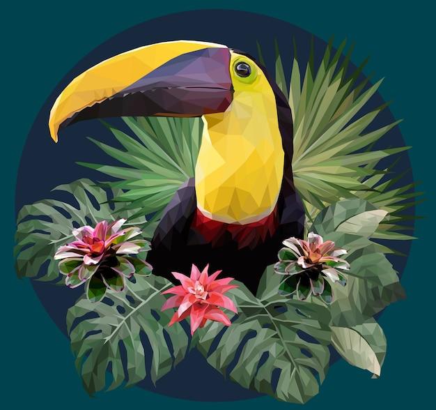 Illustrazione poligonale uccello tucano e piante di foresta amazzonica.