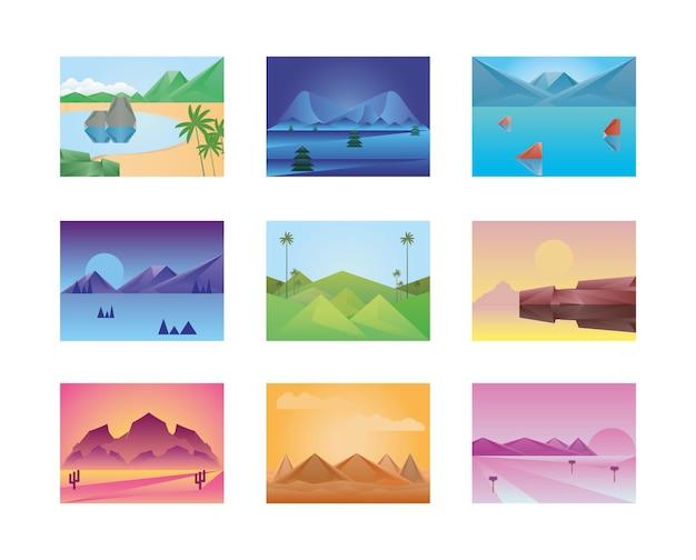 Paesaggi poligonali icon set design, natura e illustrazione di tema all'aperto