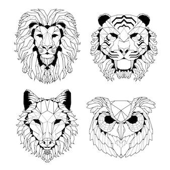 Set testa animale illustrato linea poligonale