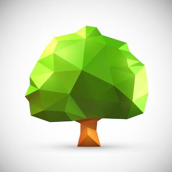 Quercia origami poligonale. illustrazione pulita