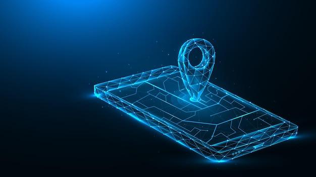Illustrazione vettoriale poligonale di navigazione gps mobile su sfondo blu scuro. smartphone e puntatore sul concetto futuristico della mappa