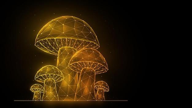 Illustrazione vettoriale poligonale di funghi su sfondo nero