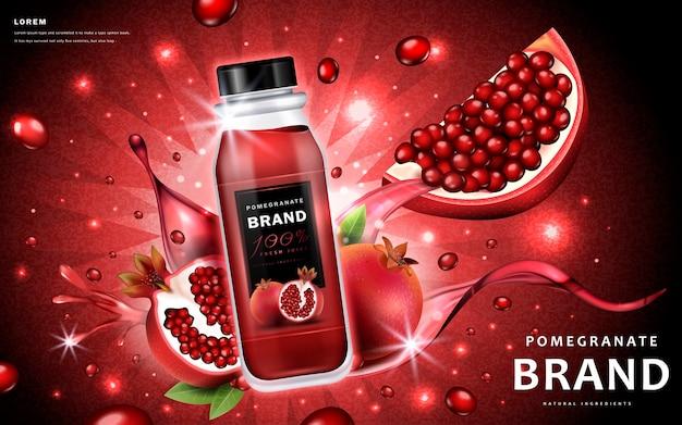 Annunci di succo di melograno con delizioso succo di bottiglia