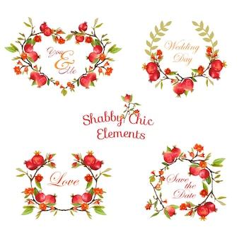 Banner e tag floreali di melograni