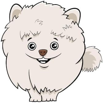 Cartone animato cane o cucciolo pomeranian isolato su bianco