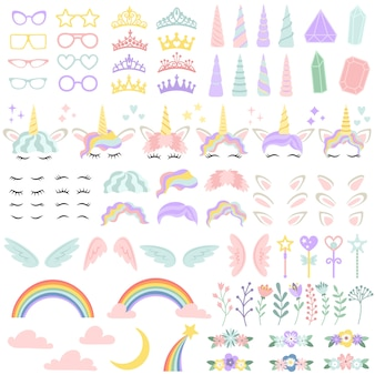 Elementi faccia di unicorno pony. bella acconciatura, corno magico e piccola corona fatata. insieme creativo dell'illustrazione di vettore della testa degli unicorni