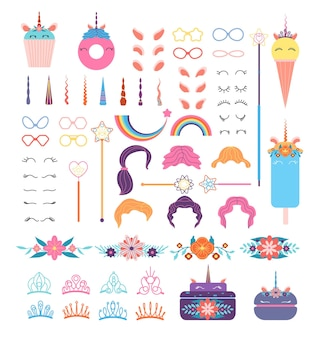 Elementi di faccia di unicorno pony. testa di unicorni con acconciatura, criniera e corno. corone e bicchieri, ali e fiori, insieme di vettore dell'arcobaleno. illustrazione ciglia e capelli, orecchie e acconciatura, corona e fiore