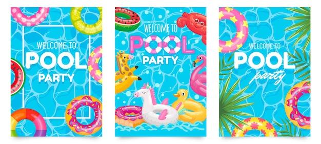 Locandina festa in piscina. benvenuti al volantino per feste in piscina con piscina, anelli galleggianti e set di foglie tropicali.