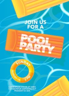Manifesto della festa in piscina con anello gonfiabile nell'illustrazione della piscina.