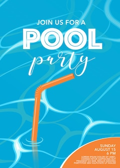 Manifesto della festa in piscina con paglia in piscina.