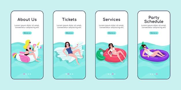 Modello piatto schermo app mobile onboarding servizi festa in piscina.