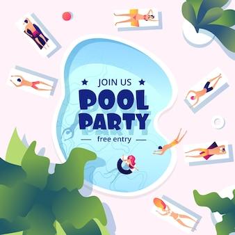 Festa in piscina. volantino evento nuoto estivo. spruzzi d'acqua, resort o vacanze design banner festivo.